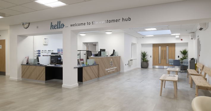 Interior view of the refurbished Police and Community Hub